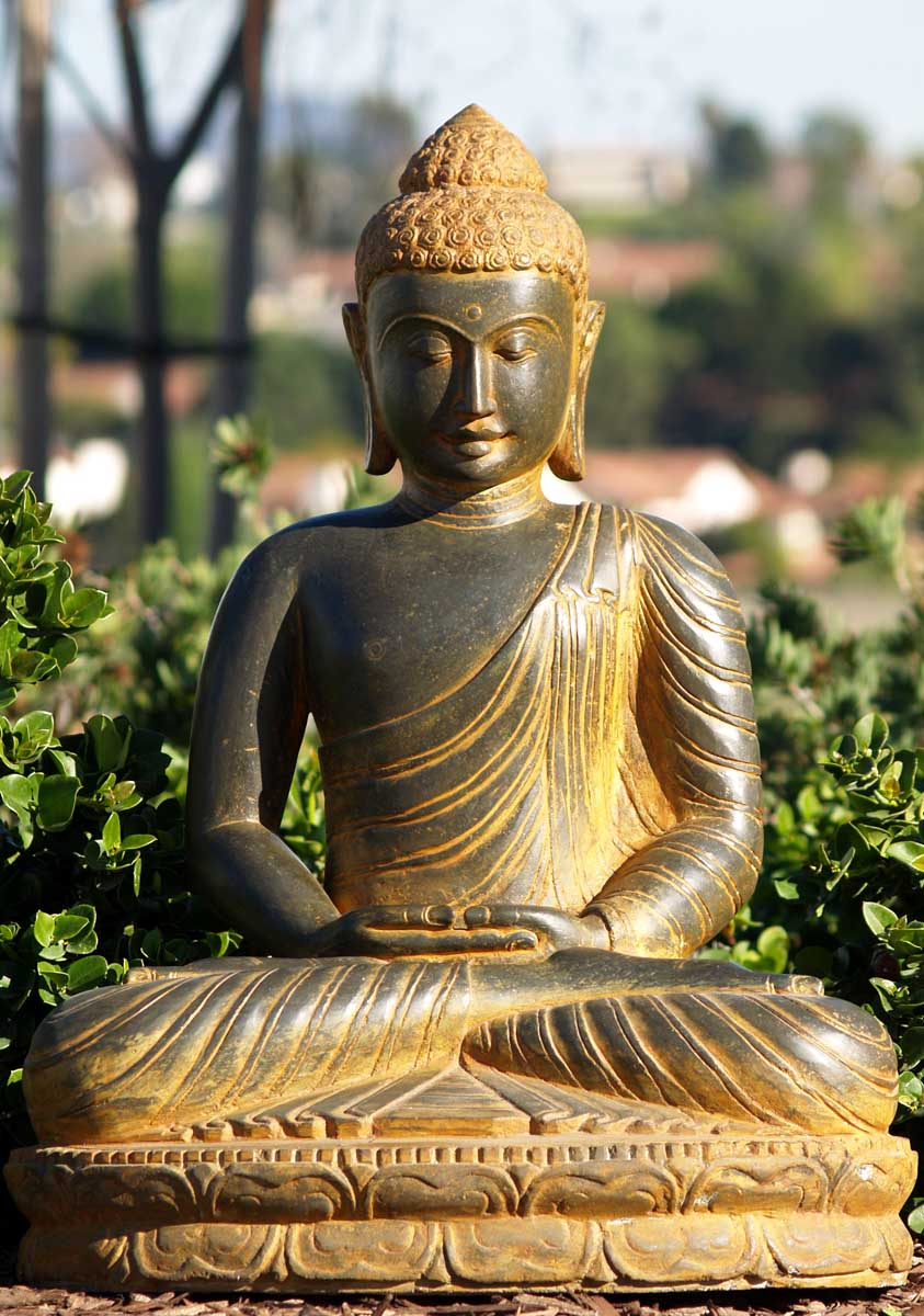 Sold stone meditating buddha statue 27 59ls22 hindu for Outdoor buddha