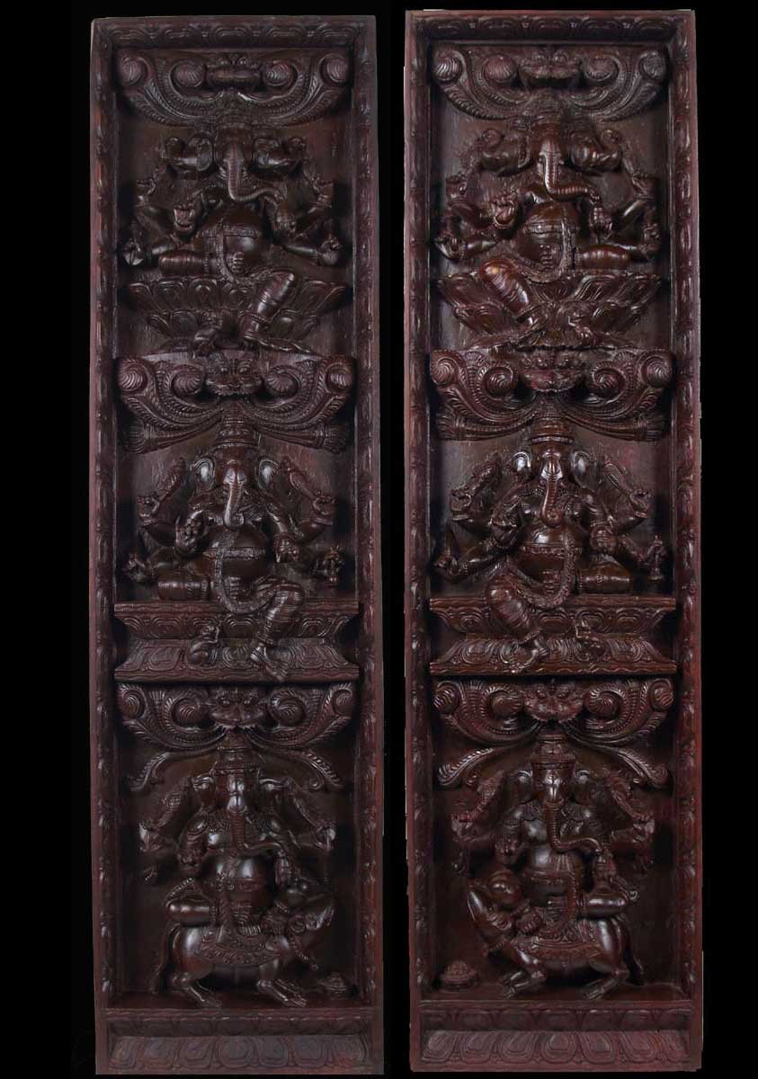 SOLD Set Of Two Wood Ganesha Wall Panels 62quot 59w32