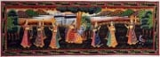 Krishna Painting  The Cow Herders Daughters 13 x 36