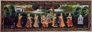 Blue Krishna Hindu Painting on Swing with Gopis 13 x 36