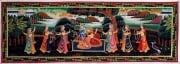 Lord Krishna Water Color Painting Playing Flute 13 x 36