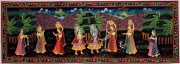 Krishna Playing the Flute with Gopis Painting 13 x 36