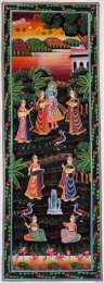 Lord Krishna Hindu Painting with Gopis 36 x 13