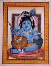 Bala Krishna Painting With Bowl of Sweets 20 x 13