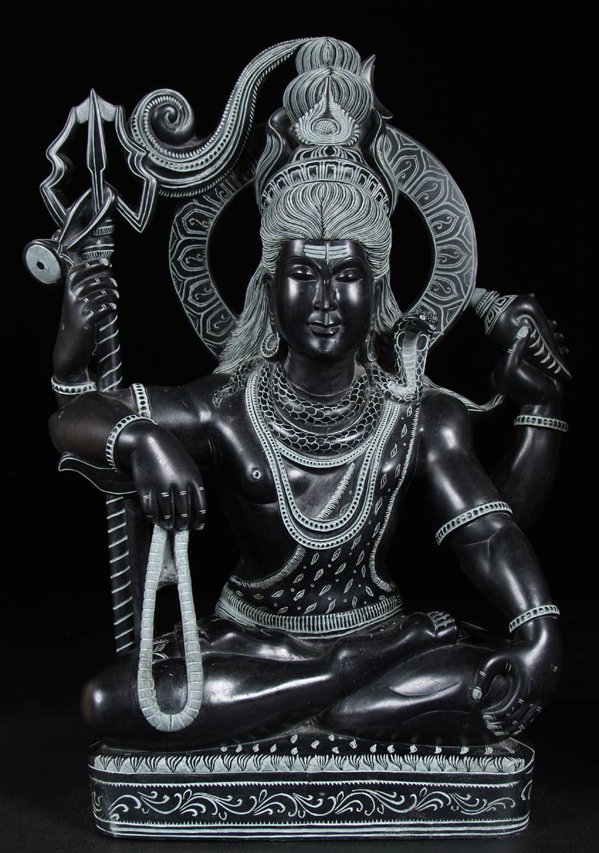 Sold Black Marble Seated Shiva Statue 22 Quot 57bm2 Hindu