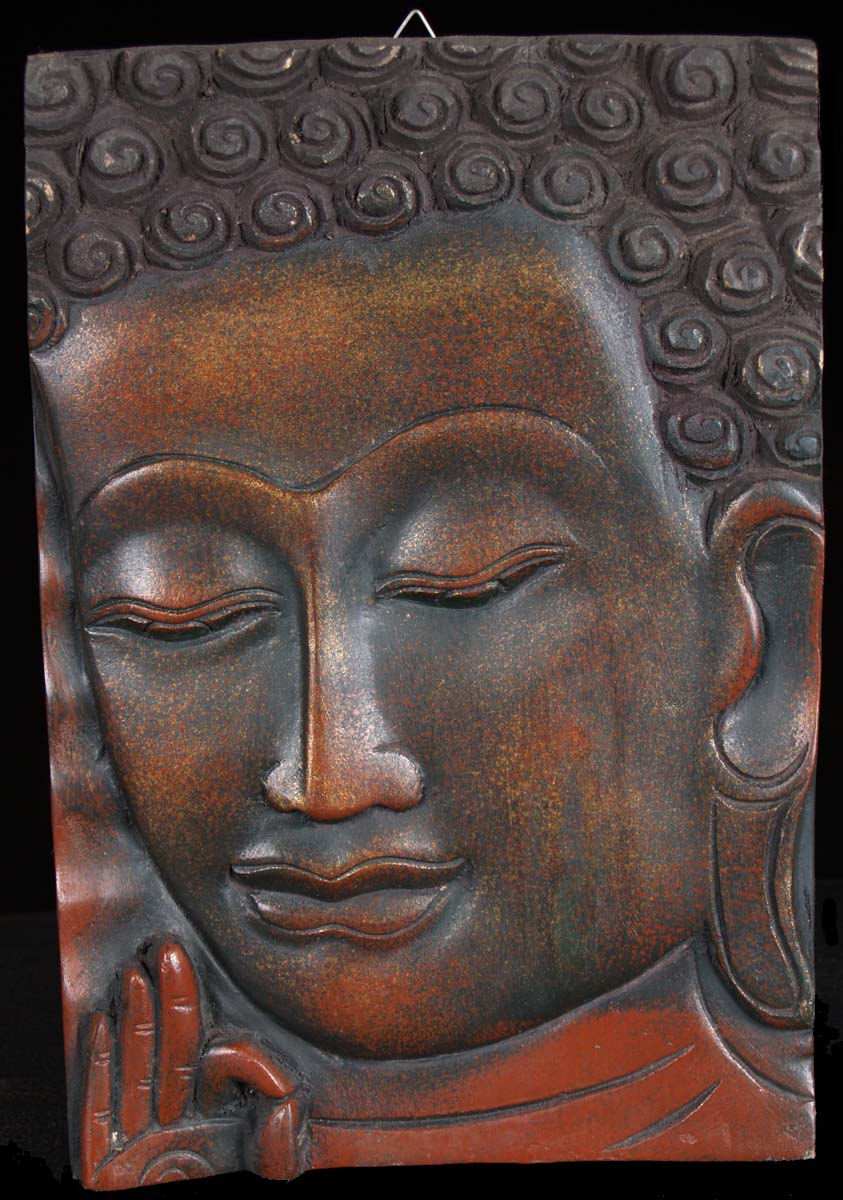 Sold small wooden buddha face panel quot c a hindu
