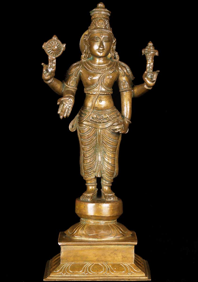 Sold Bronze Vishnu Statue 13 5 Quot 60b82 Hindu Gods