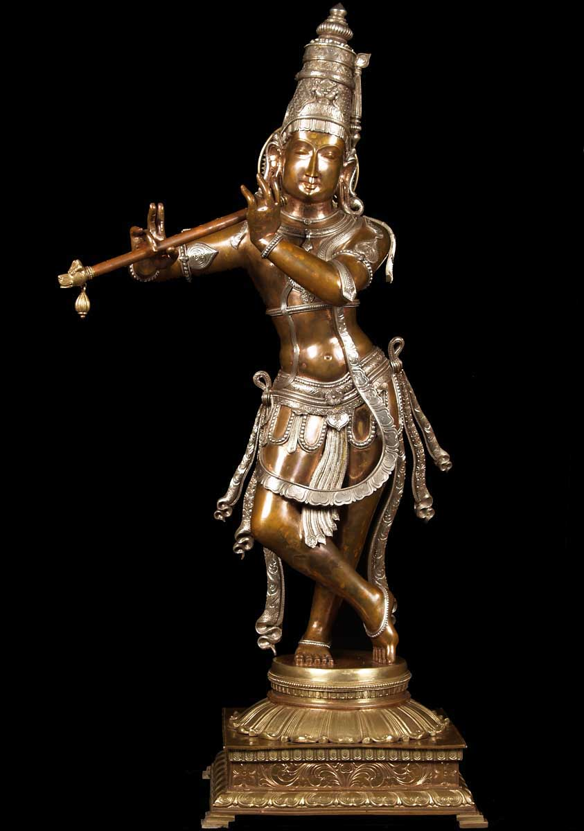"SOLD Three Metal Gopal Krishna Statue 44"" (#60b15): Hindu ..."