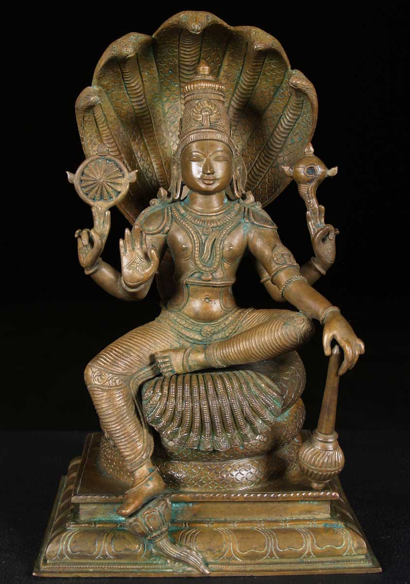 "SOLD Bronze Vishnu Statue Holding Club 13"" (#9bc16): Hindu ..."