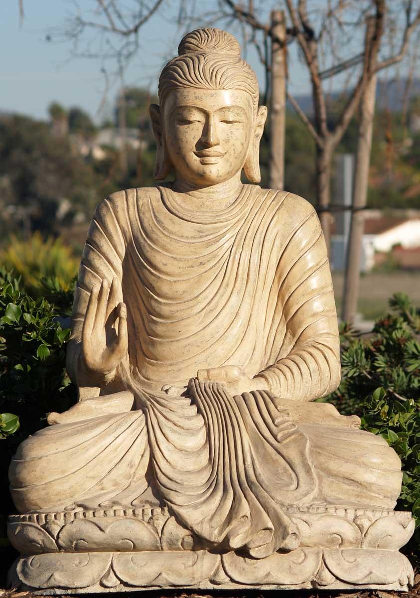 Sold White Lava Stone Buddha Sculpture 38 Quot 59ls13