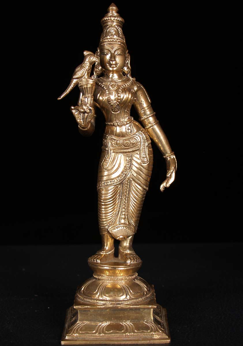 SOLD Bronze Meenakshi of Madurai with Parrot 9