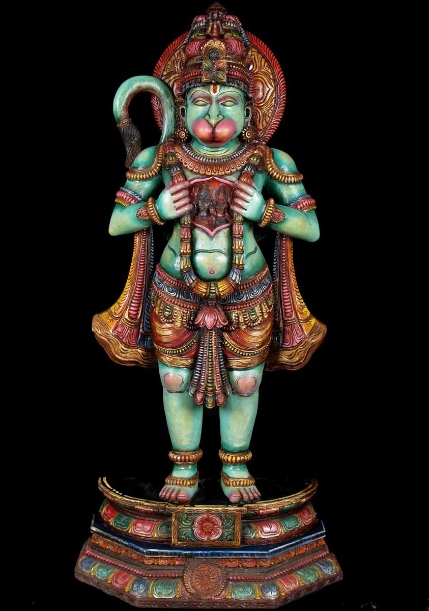 SOLD Wood Hanuman with Ram & Sita in His Heart 54""