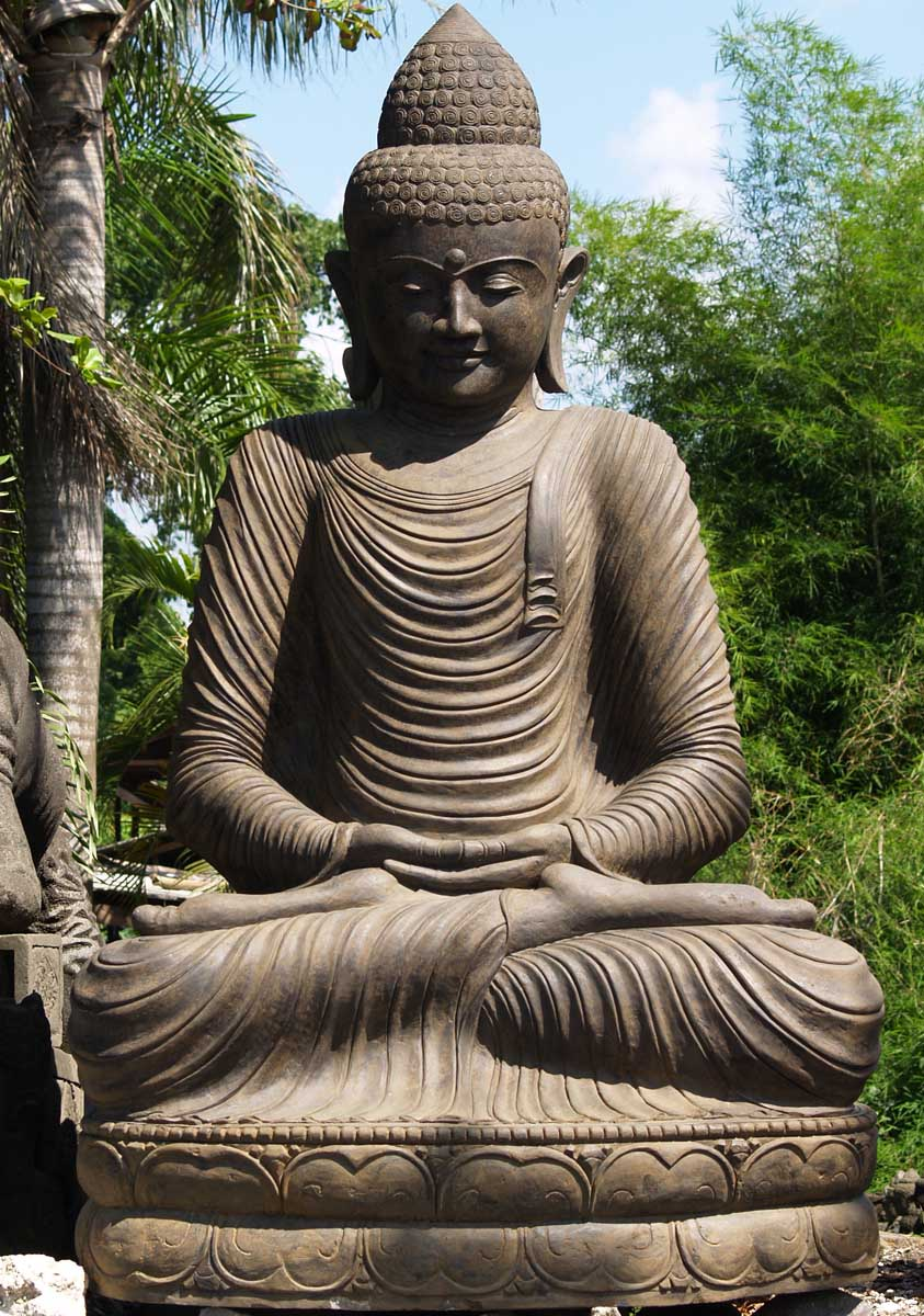 sold stone large meditating garden buddha statue 106 67ls58 hindu gods buddha statues. Black Bedroom Furniture Sets. Home Design Ideas