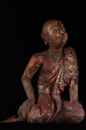 Wooden Kneeling Monk Statue 20