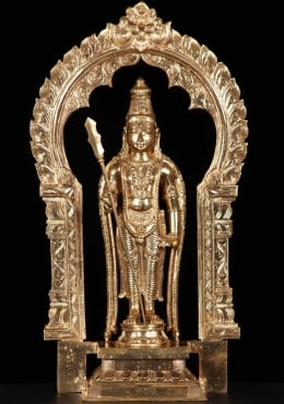Bronze Murugan Statue Holidng Vel with Arch 19.5
