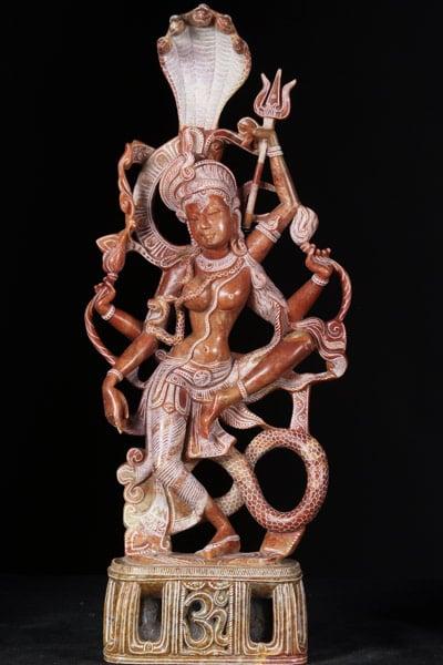 Marble Dancing Ardhanari Statue With Om Base