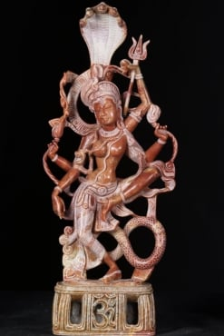 Marble Dancing Ardhanari Statue With Om Base 23